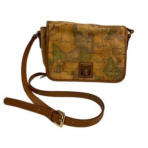 Alviero Martini map pattern leather shoulder bag